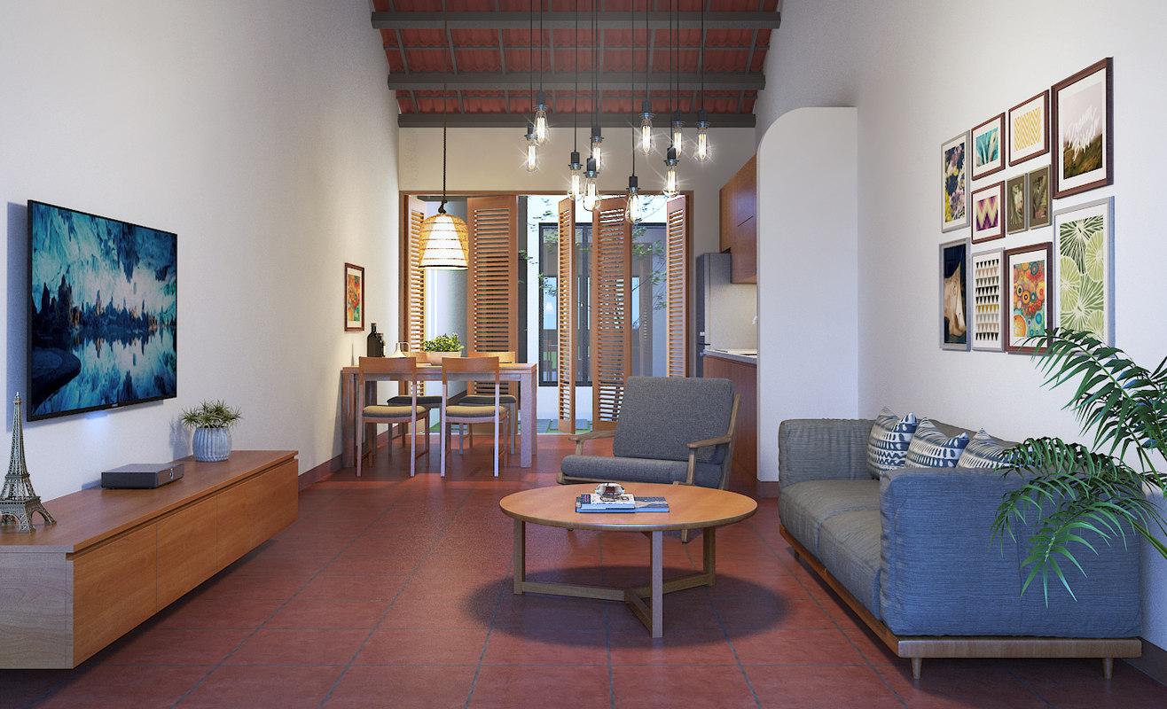 apartment-livingroom celling-light 3D model