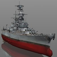 3D uss wisconsin bb-64 1942-1945 model