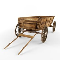 wooden cart car 3D model