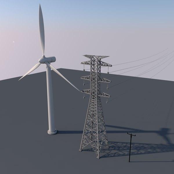 3D wind turbine power lines model