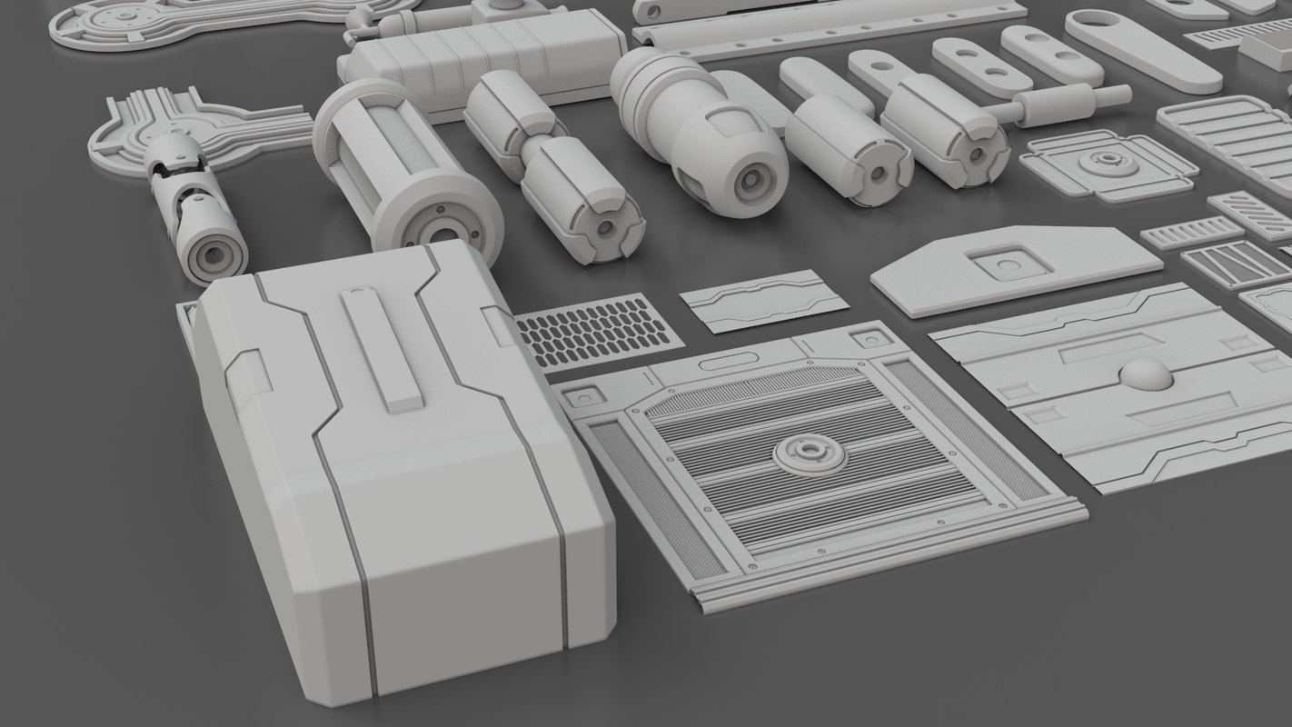 Hard Surface Sci-Fi Industrial KitBash Library 01