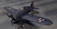 3D model ww2 aircraft american fighters