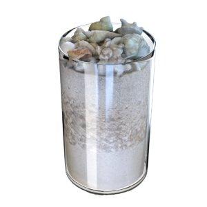 3D jar sand seashells