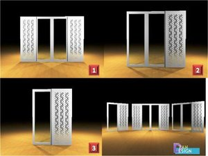 3D sliding glass patterned model
