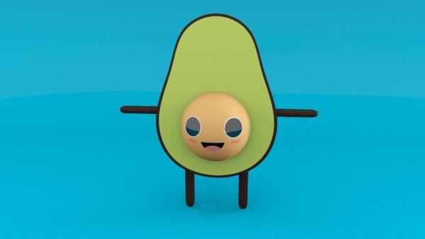 3D avocado guy mascot toon