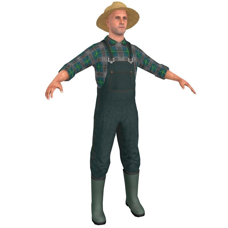 Farmer man straw 3D model - TurboSquid 1324516 e646c8761248