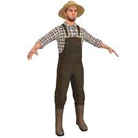farmer man straw 3D
