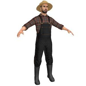 farmer man straw 3D model