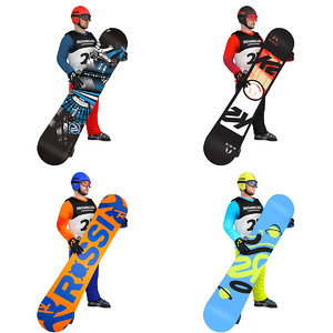 3D pack rigged snowboarder boards model