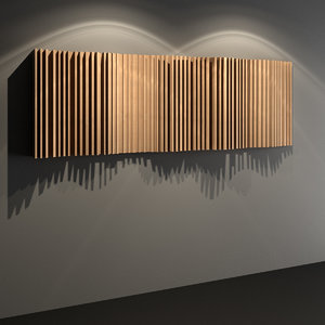 wooden acoustic wall panel 3D model