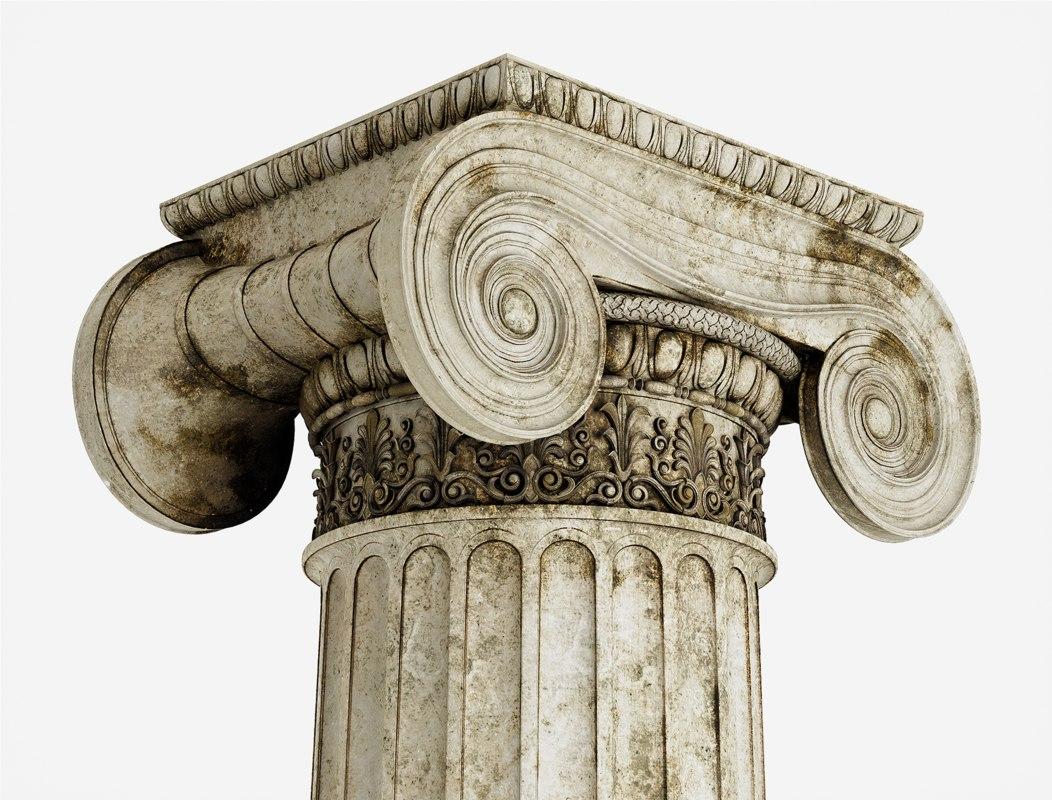 3D model column greek erechtheum