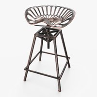 tractor seat bar stool 3D model