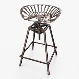 tractor seat bar stool 3D model