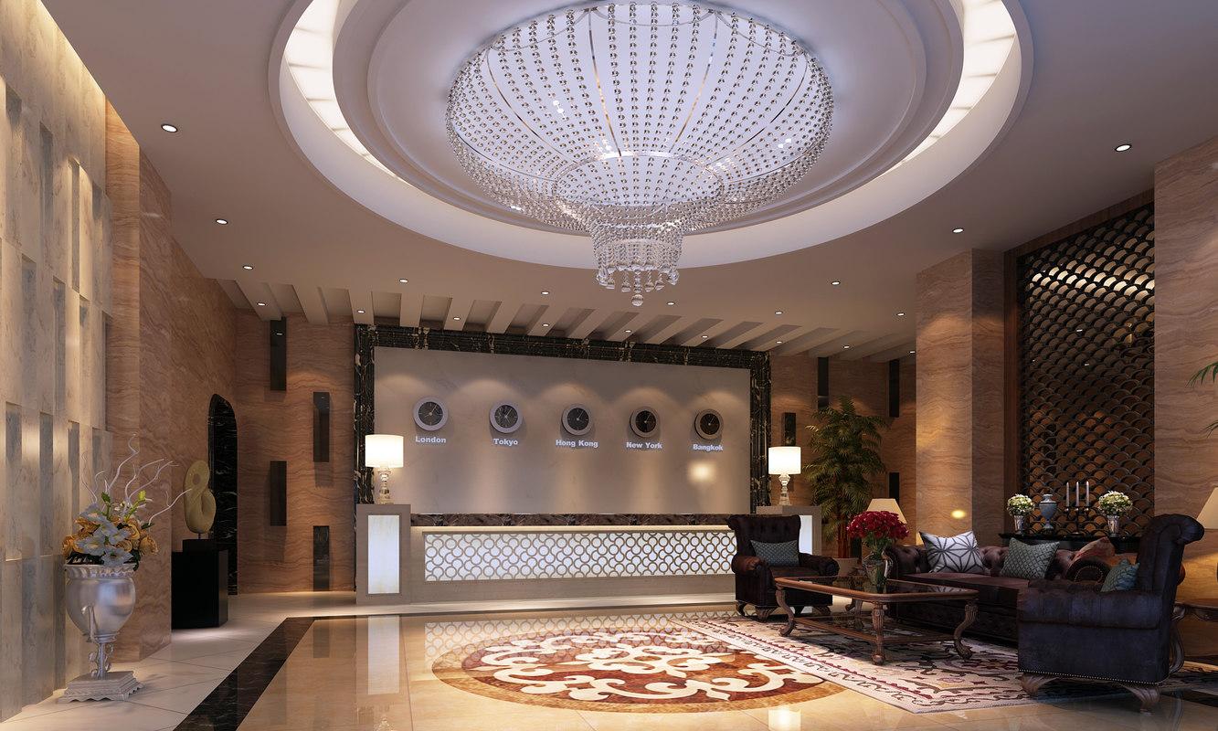 3D hotel lobby scene model
