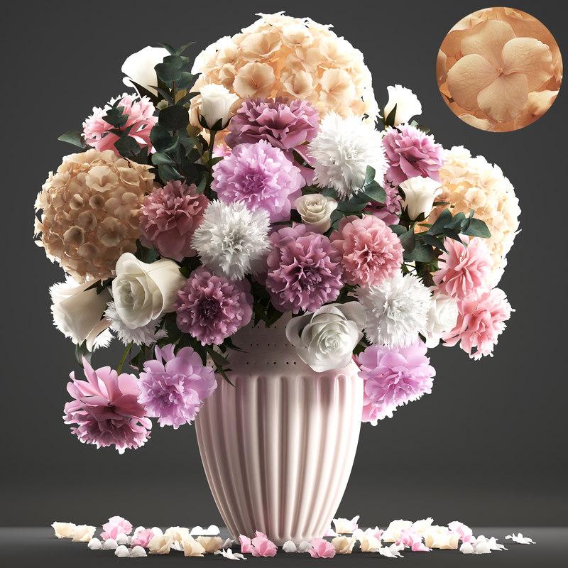 3D bouquet roses spring flowers model