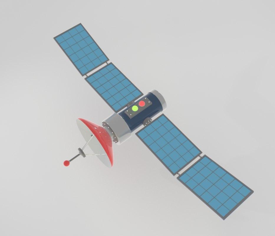 cartoon satelite 3D model