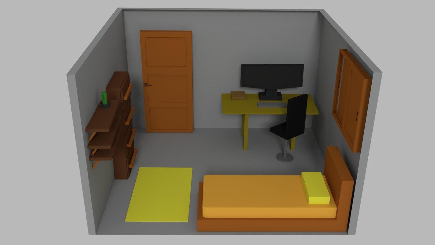 3D model bedroom interior room