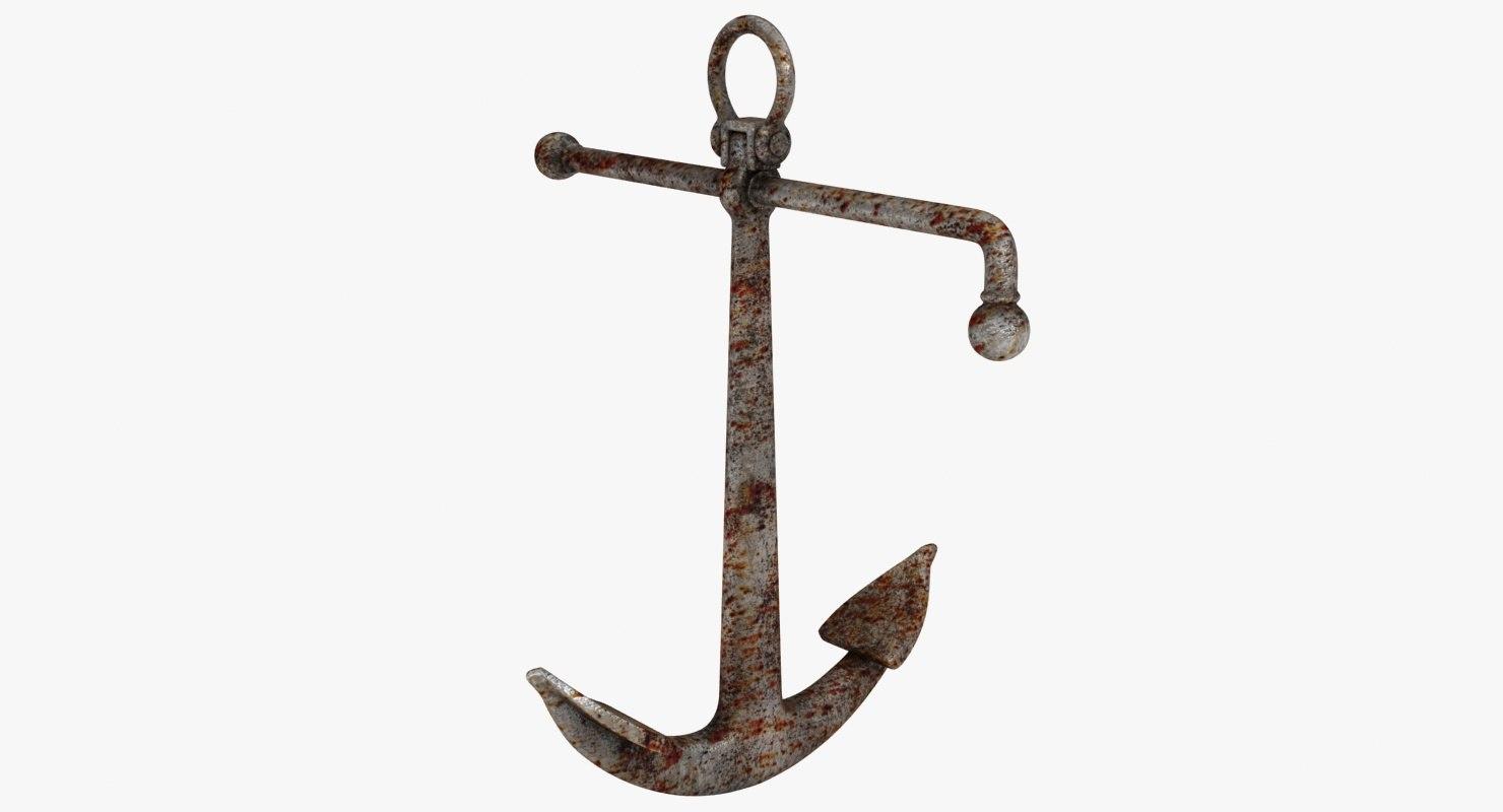 rusty admiralty anchor 3D model
