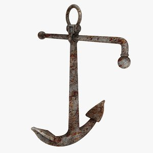rusty admiralty anchor 3D model