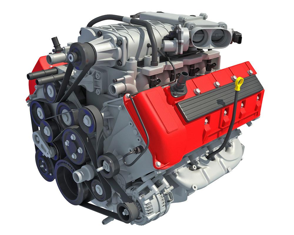 3D model v8 car engine interior parts