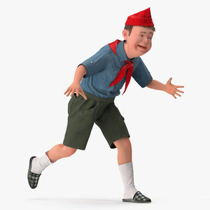 realistic boy scout rigged 3D model