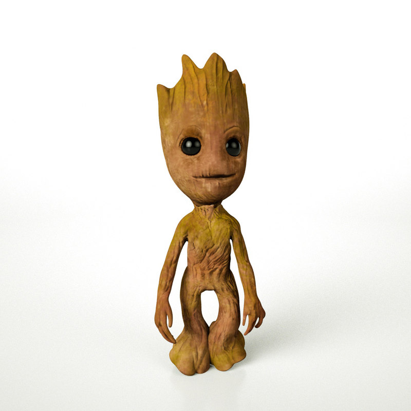 3D baby groots animations rigged model