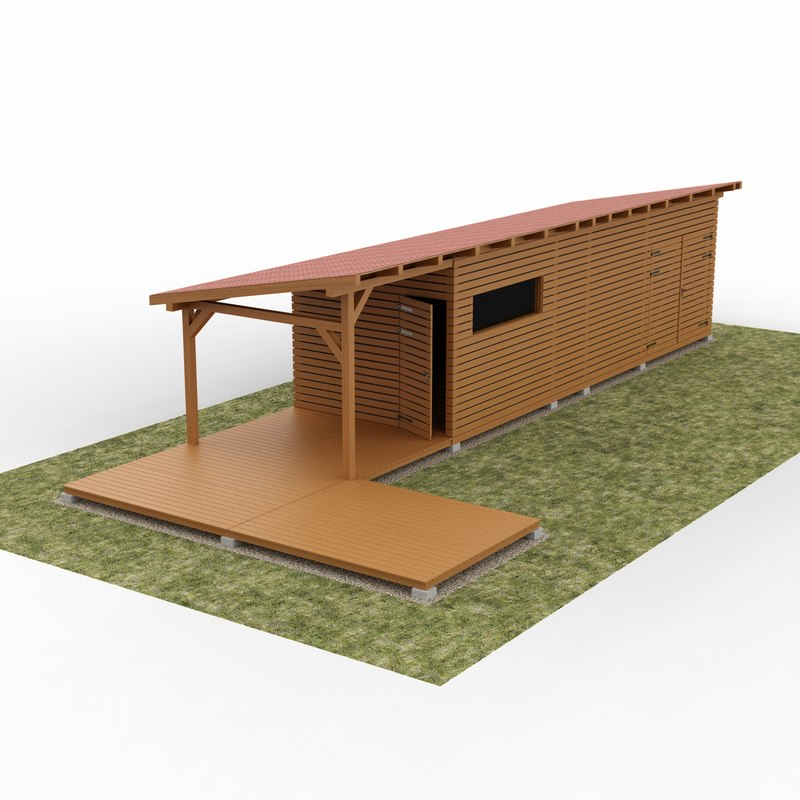 3D garden wooden cabin model