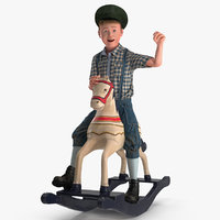 Vintage Rocking Horse with Child Boy Rigged for Maya 3D Model