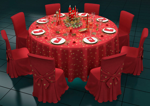 architectural christmas table tableware 3D