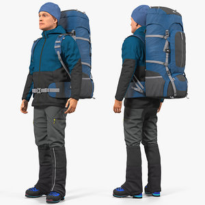 winter hiking clothes backpack 3D