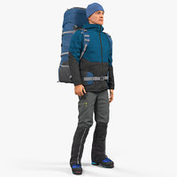 Winter Hiking Clothes Man with Backpack Rigged for Cinema 4D 3D Model