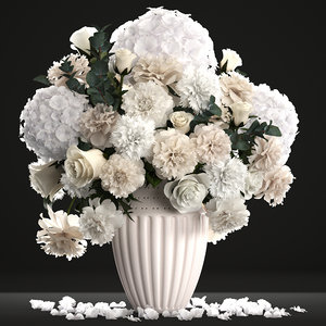 3D bouquet wthite flowers