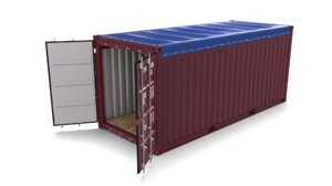 3D 20ft shipping container open