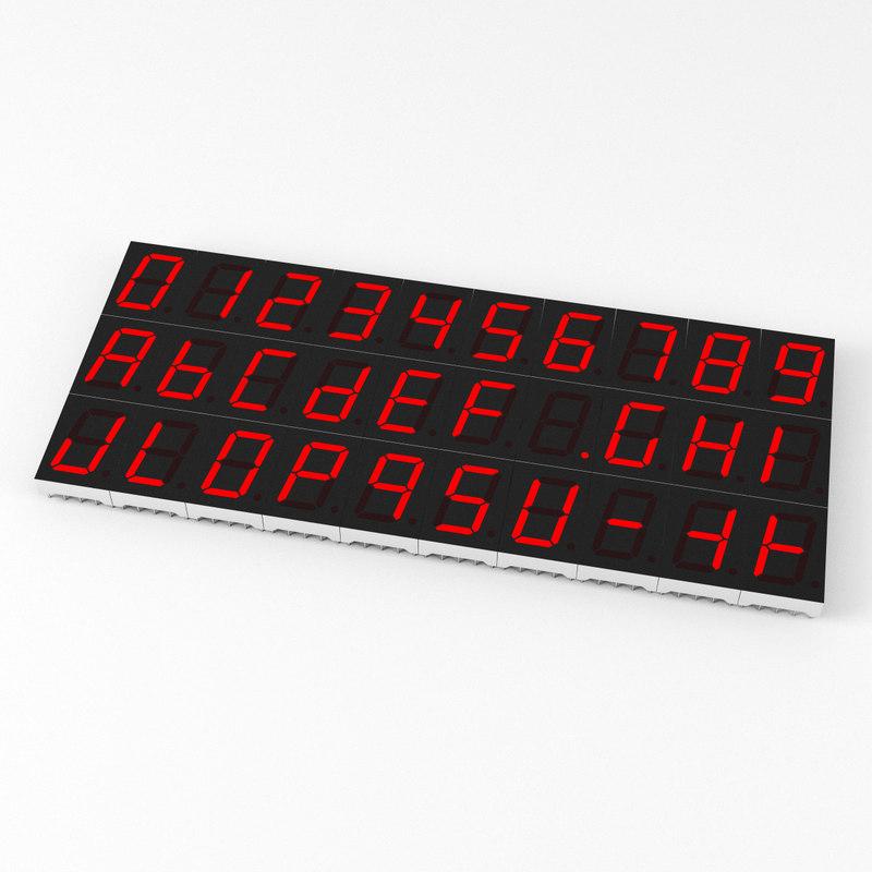 3D 7-segment led display segment model