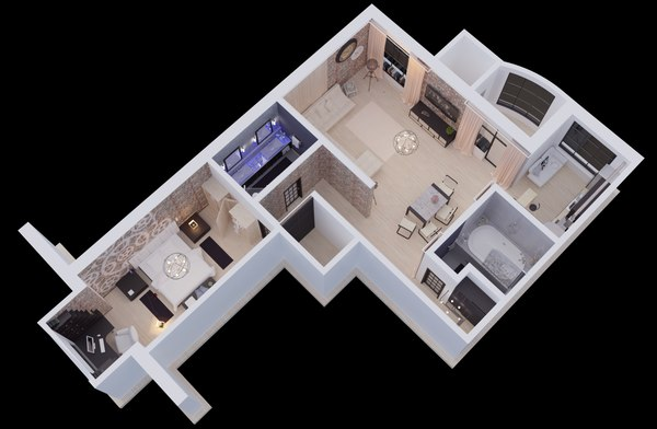 apartment corona interior 3D model