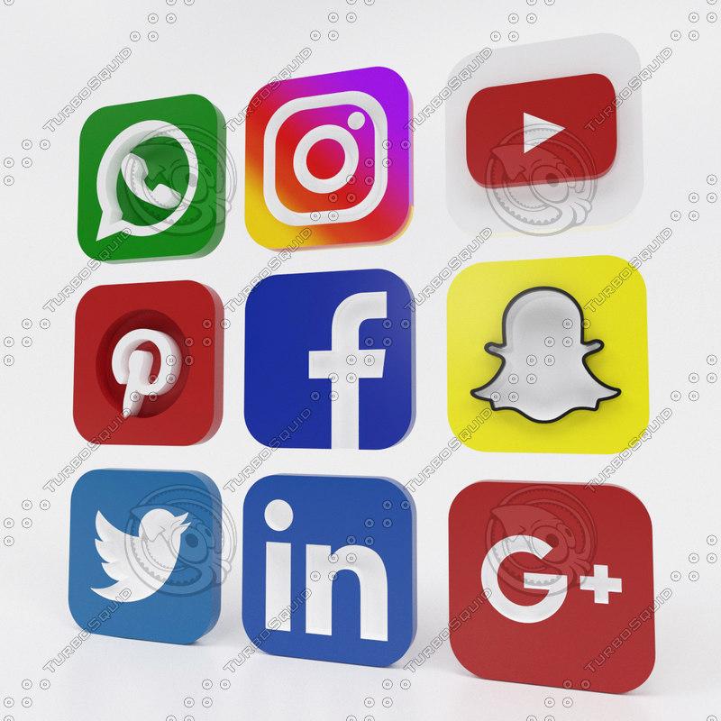 pack social media icons 3D model