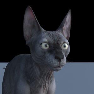 3D sphynx cat rig