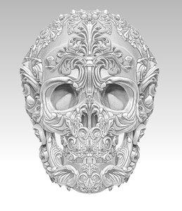 carved skull 3D
