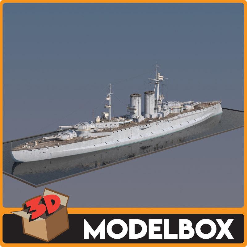 3D model queen elizabeth battleship