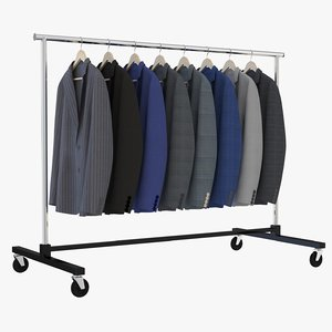 3D model suits clothing rack
