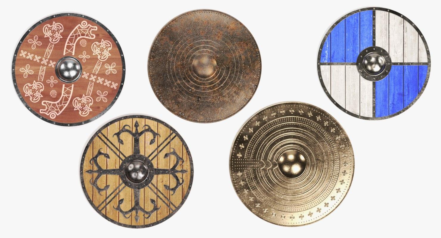 3D model viking shields