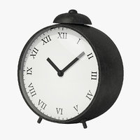 3D black metal clock