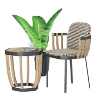 3D swing lounge armchair tabel model