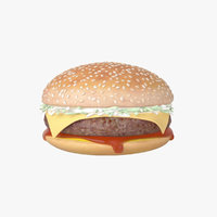 3D burger hamburger cheeseburger meat model