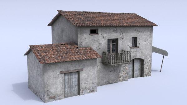 old nostalgic village house exterior 3D model