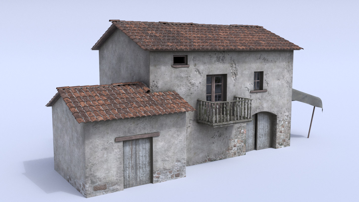 old nostalgic village house exterior 3D model