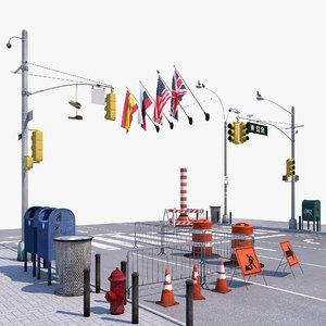 3D model street set signs