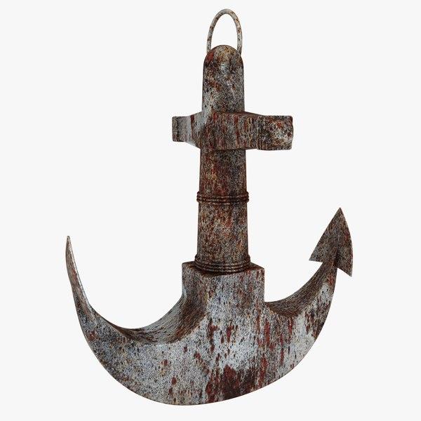 3D rusty anchor 3
