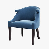 3D blue armchair interior model