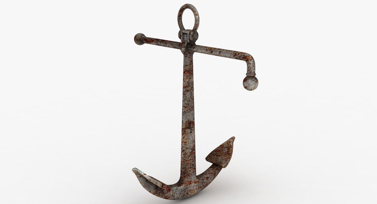 3D model rusty anchor